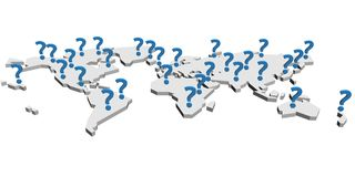 Where is the market?. Question mark over the Earth map royalty free illustration