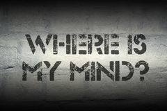 Where is my mind gr. Where is my mind question stencil print on the grunge white brick wall Stock Photography