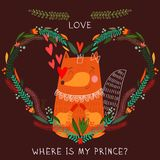 Where is my prince?- bright concept card in . Cute fox in flowers  heart. Romantic background in cartoon style Royalty Free Stock Image