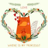 Where is my princess?- bright concept card in . Royalty Free Stock Photo