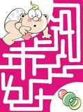Where is the pacifier?. Maze game for kids: Help the baby to find his pacifier Royalty Free Illustration