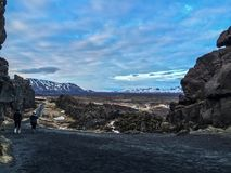 Where the Plates Meet. A photo at sunset in thingvellir , Iceland . This  where two tectonic plates meet Royalty Free Stock Image
