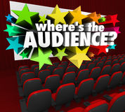 Where's the Audience Movie Theater Screen Missing Customers. Where's the Audience 3d words on a movie theater screen asking about your missing customers or stock illustration