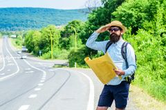 Where should I go. Expeditor looking for side of the world direction map. Expeditor backpacker map look direction. Travelling. Around world expedition. Map Stock Images