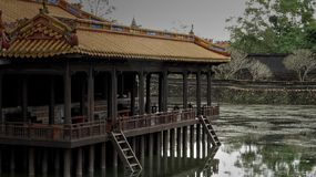 One of the buildings in the Emperial City of Hue Vietnam stock images