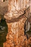 Where stalactites and stalagmites join together. Beautiful stalactites and stalagmites, underground river at Aktun Chen caves in Yucatan peninsula, Mexico stock photos