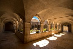 The quiet monastery on the island. Where to escape from the hustle and bustle of the world  the quiet monastery, peace, beautiful, mysterious, medieval, convent Royalty Free Stock Image