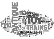 Where To Find Antique Toy Trains For Saleword Cloud. WHERE TO FIND ANTIQUE TOY TRAINS FOR SALE TEXT WORD CLOUD CONCEPT Royalty Free Stock Image
