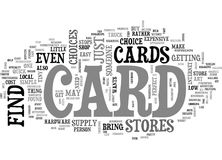 Where To Find A Card Word Cloud Stock Photography