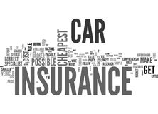 Where To Find The Cheapest Car Insurance Word Cloud Stock Photography