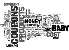 Where To Find Cost Off Coupons For Baby Products Word Cloud Stock Photos