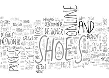 Where To Find Shoes Sold At A Discount Word Cloud Stock Photography