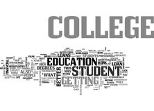Where To Find Student Loans For College Word Cloud Stock Photos