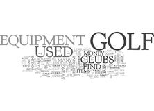 Where To Find Used Golf Equipment Word Cloud. WHERE TO FIND USED GOLF EQUIPMENT TEXT WORD CLOUD CONCEPT Stock Image