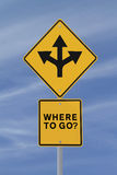 Where To Go?. Conceptual road sign on choices or making decisions (against a blue sky background Stock Images