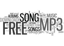 Where To Go To Download That Free Mp Song Word Cloud Stock Image