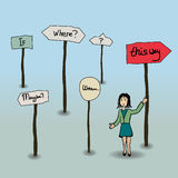 Where to go?. Visualisation of decisionmaking with direction signs Stock Photography