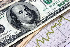 Where to invest. Financial planning bills and graphs closeup Royalty Free Stock Photo