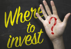 Where to Invest on blackboard.  Royalty Free Stock Photography