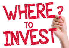 Where to Invest written on wipe board royalty free stock image