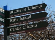 Where to Liberty?. Sign showing the direction to get tickets for some New York attractions Stock Photography