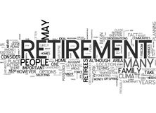 Where To Live When You Retire Word Cloud. WHERE TO LIVE WHEN YOU RETIRE TEXT WORD CLOUD CONCEPT Stock Image