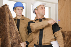 Where to put wood fiber insulation boards on wall royalty free stock photos