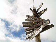Where to?. Signpost in the Bergen Byfjellene with distances to different parts of Norway and the world Royalty Free Stock Image