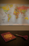 Where to Travel. Using a dart and a map to decide where to travel Royalty Free Stock Images