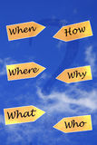 """When, where, what, how, why, who. Yellow arrows with questions  """"when, where, what, who, why and how""""in script, blue sky and thin white cloud Royalty Free Stock Photo"""