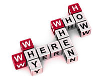 Where when why who how. Questions where when why who how in a crossword formation royalty free illustration