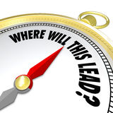 Where Will This Lead Question Compass New Direction. The words Where Will This Lead? on a gold compass asking you if you know the destination for a new direction Stock Image