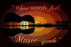 """Where words fail, music speaks."" ― Hans Christian Anders stock photos"