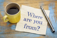 Where are you from? A question on napkin. Royalty Free Stock Photo