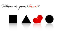 Where is your heart?. The red heart shape and different black shapes in white background Royalty Free Illustration