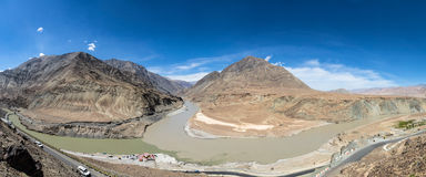 Where the Zanskar and Indus rivers meet in Ladakh Royalty Free Stock Photo