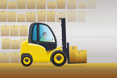 Wherehouse forklift Royalty Free Stock Images