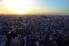 Sunset in Setagaya-ku, Tokyo, Japan. Whether you've had a long day exploring or a long night dancing, seeing the city skyline in the warm glow of a Tokyo stock photography