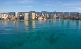 Beautiful Aerial View of Waikiki Beach Oahu Hawaii. Whether you are looking forward to surfing, canoe paddling, snorkeling, swimming, boogie boarding, sand stock image