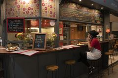 Small restaurant in San Telmo Market, Buenos Aires, Argentina royalty free stock photography