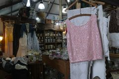 Old clothes for sale at San Telmo Market, Buenos Aires, Argentina stock image