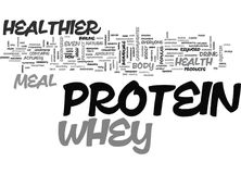 Whey Healthier Protein Meal Word Cloud. WHEY HEALTHIER PROTEIN MEAL TEXT WORD CLOUD CONCEPT stock illustration