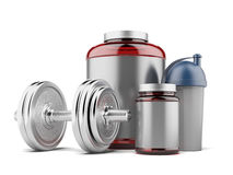 Whey protein and dumbell stock photo