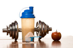 Whey Protein Powder In Scoop, Dumbbell, Meter Tape And Plastic S Stock Image