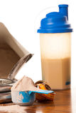 Whey Protein Powder In Scoop, Dumbbell, Meter Tape And Plastic S Stock Photo