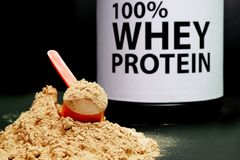 Whey Protein Powder in measuring scoop. Bodybuilding Nutrition Supplements Royalty Free Stock Photo