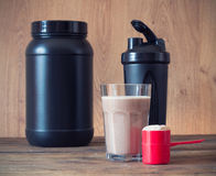 Whey protein powder Stock Photos