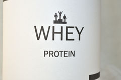 Whey protein. Promoted muscle growth, body building Royalty Free Stock Images