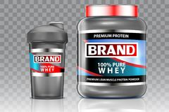 Whey protein shaker vector realistic mock up set vector illustration
