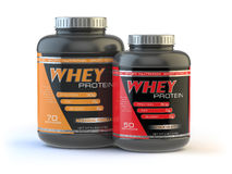 Whey protein  on white. Sports bodybuilding  supplements Stock Photography